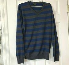 Buy J.crew men's sweater merino wool striped gray and blue navy Size L V-neck