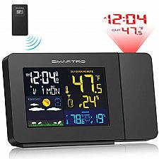 Buy SMARTRO SC91 Projection Alarm Clock for Bedrooms with Weather Station, Wireless