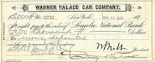 Buy November 11, 1896 Wagner Palace Car Company, Lincoln National, Bank Check Draft