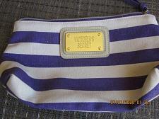 Buy VICTORIA'S SECRET Purple Striped Cloth Cosmetic Makeup Bag Case Gold Nameplate