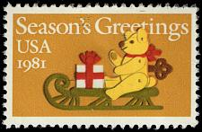 Buy US #1940 Felt Bear on Sleigh; Used (4Stars) |USA1940-10