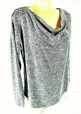Buy Carmen Women's Medium Long Sleeve Gray Zipper Shoulders Cowl Neck Top (E)