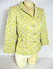Buy SEMANTIKS womens Sz 6 3/4 sleeve yellow white SILVER METALLIC button jacket (Y)