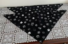 Buy Two Brand New Black Gray Paw Print Design Dog Bandanas For Dog Rescue Charity
