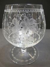 Buy Hand Cut copper wheel engraved Brandy glass