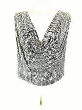 Buy Anne Klein Women's Sz 14 Brown Beige SILK Herringbone Cowl Neck Stretch Top (E)