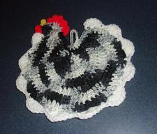 Buy Brand New Hand Crocheted Black White Chicken Hen Pot Holder For Country Kitchen