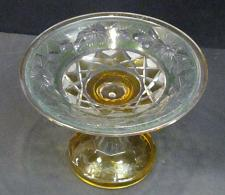 Buy Cut Glass compote Antique green amber cut to clear