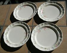 Buy Pfaltzgraff TEA ROSE Set of Four Dinner Plates Scalloped Edge USA