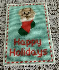 Buy Brand New Buff Cocker Spaniel Happy Holidays Needlepoint Sign For Dog Charity