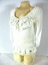 Buy Hollister Women's Small White 3/4 Sleeve Sheer Ruffle Button Neckline Top (E)
