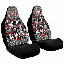 Buy Ahegao Anime Black And Red Car Seat Covers Nerdy Geeky Pop Culture Set of 2 Fron