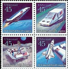 Buy 1989 45c Futuristic Mail Delivery, Airmail, Block of 4 Scott C122-C125 Mint NH