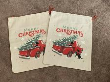 Buy Two Brand New Linen Look Drawstring Gift Bags Red Truck Christmas Tree 15 x 20