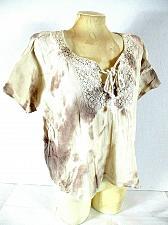 Buy Hippie Laundry women's Medium Beige Brown Tie Dye Tie Crochet Neckline top (O)