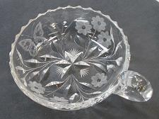 Buy ABP cut glass handled nappie butterfly ANTIQUE