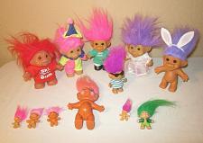 Buy Troll Dolls Lot of 11 - Russ - Ski Bum - Clown - Super Kicker - Bunny - Pin