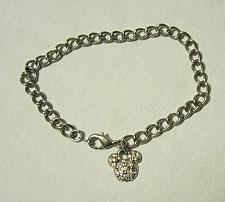 Buy Disney Park Silvertone Crystal Clear Rhinestone Mickey Mouse Head Charm Bracelet