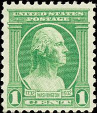 Buy 1932 1c George Washington, Jean-Antoine Houdon, Green Scott 705 Mint F/VF NH