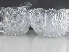 Buy Sugar and creamer American Brilliant Period Cut Glass Antique sg