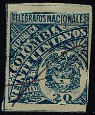 Buy Colombia Yvert #TE24 Telegraph Stamp; Used (2Stars) |COLLOT-02XRS