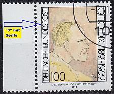 Buy GERMANY BUND [1991] MiNr 1573 F11A,I ( O/used ) [01] Plattenfehler