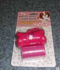 Buy Brand New Dog Waste Bags with Pink Bone Shaped Bag Holder For Dog Rescue Charity