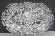 """Buy ABP American Brilliant Period Cut Glass Rectangle tray Antique 16"""" blown blank"""