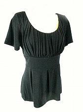 Buy Danny & Nicole Women's 12 Black Pleated Bodice Tie Back Stretch Top (E)