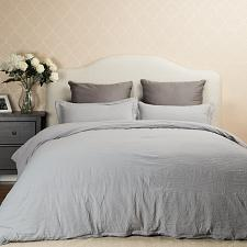 Buy Bedsure Washed Grey Duvet Cover Full/Queen Size Set with Zipper Closure, Ultra 3