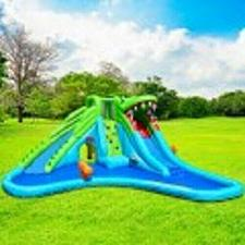 Buy Crocodile Themed Inflatable Slide Bouncer with Two Water Slides