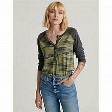 Buy Lucky Brand Women`s Small Tee NWT`s Camo Henley 3/4 length Raglan Sleeve