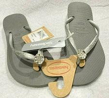 Buy Havaianas Women's Slim Flip Flop Sandals Gray / Silver Detail USA 6 Size /37/38