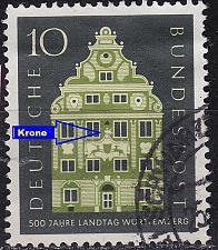 Buy GERMANY BUND [1957] MiNr 0279 F17 ( O/used ) [01] Architektur Plattenfehler