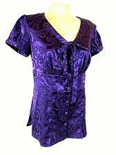 Buy Studio 1940 Women's Small Purple Floral Button Down Tie V Neck Top (O)