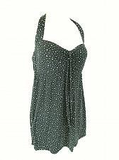 Buy Catalina Women's Medium Black White Polka Dots Body Liner Stretch Halter Top (E)