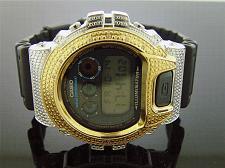 Buy Men Casio G Shock 15 Diamonds Black Face Watch 6900 Two-tone Gold Silver