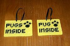 Buy Brand New Handmade Needlepoint Pet Emergency Sign PUG PUGS 4 Dog Rescue Charity