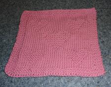 Buy Brand New Hand Knit Cotton Dish Cloth Pink Heart Design For Dog Rescue Charity