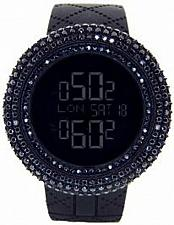 Buy KING MASTER 25.00ct Lab Made Diamond Watch All Blacked Out Case Mens Digital