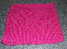 Buy Brand New Hand Knit Cotton Dish Cloth Hot Pink Heart Design 4 Dog Rescue Charity