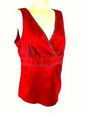 Buy New York & Co Womens 12 Red Embroidered Sequins Faux Wrap Side Zip V Neck Top (O
