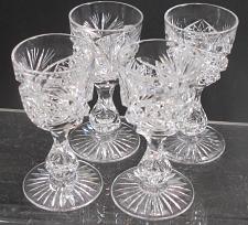 Buy 4 Signed Libbey liquor American Brilliant Period hand Cut Glass blown