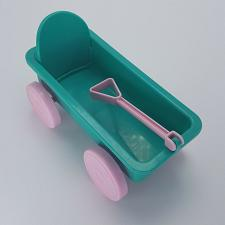 Buy Toy Wagon MJ0712A Teal Green Plastic 6.5 inches Doll Furniture Pink Wheels