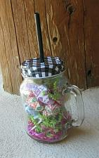 Buy Mason Jar Glass Drinking Mug - Black Straw - Black /White lid - Dum Dum Suckers