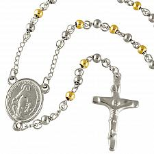 Buy Stainless Steel Rosary Necklace with Alternating 4mm Gold/Silver PVD Beads