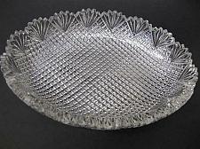 Buy American Brilliant Period Cut Glass oval low bowl strawberry diamond fan
