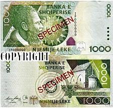Buy Albania Banknote Specimen Paper Money, 1000 leke 2007. UNC