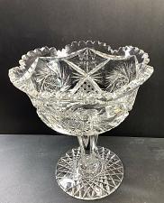 Buy American Brilliant Period Cut Glass compote, Antique W10.5