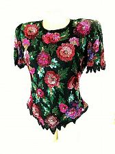 Buy Laurence Kazar Women's Small Multi Color Floral Sequins Beads Full Zip Top (O)